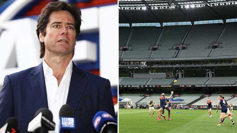 AFL CEO Gillon McLachlan during a media conference (pictured left) and the Demons (pictured right) playing at the MCG.