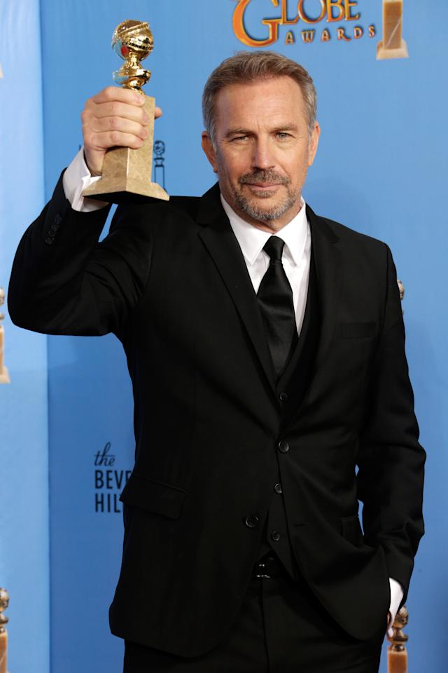 Kevin Costner poses in the press room at the 70th Annual Golden Globe Awards held at The Beverly Hilton Hotel on January 13, 2013 in Beverly Hills, California.