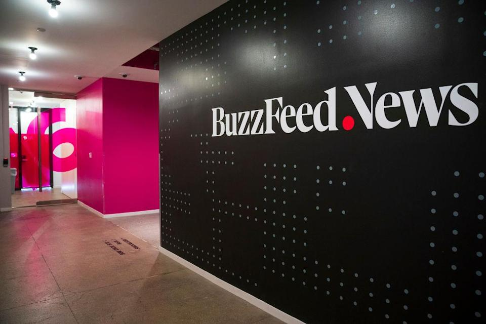NEW YORK, NY - DECEMBER 11: A BuzzFeed News logo adorns a wall inside BuzzFeed headquarters, December 11, 2018 in New York City. BuzzFeed is an American internet media and news company that was founded in 2006. According to a recent report in The New York Times, the company expects to surpass 300 million dollars in earnings for the 2018 fiscal year. (Photo by Drew Angerer/Getty Images)