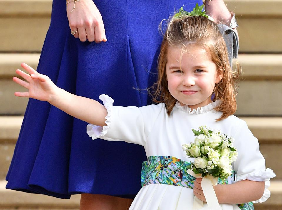 WINDSOR, UNITED KINGDOM - OCTOBER 12: (EMBARGOED FOR PUBLICATION IN UK NEWSPAPERS UNTIL 24 HOURS AFTER CREATE DATE AND TIME) Princess Charlotte of Cambridge attends the wedding of Princess Eugenie of York and Jack Brooksbank at St George's Chapel on October 12, 2018 in Windsor, England. (Photo by Pool/Max Mumby/Getty Images)