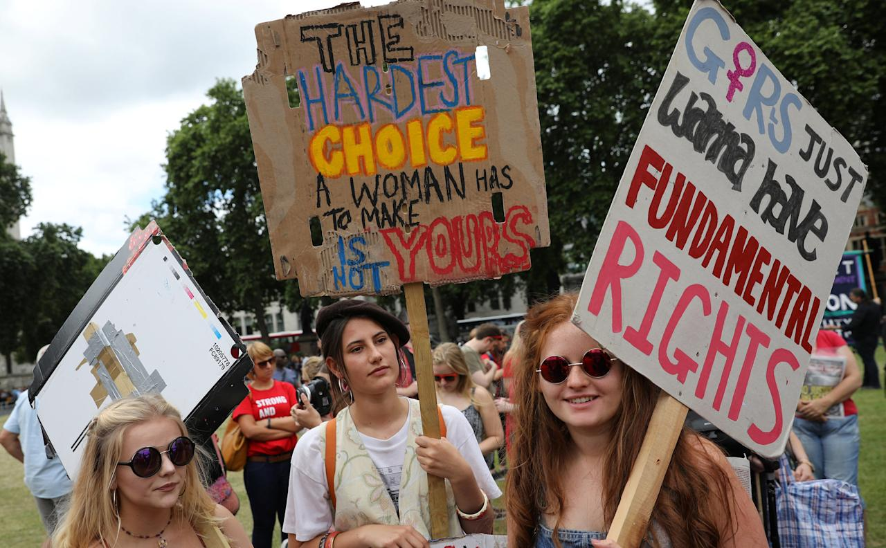 Women gather in Parliament Square for a protest in support of legal abortion in Northern Ireland, and against a Tory coalition with the DUP, in central London, Britain, June 24, 2017. REUTERS/Marko Djurica