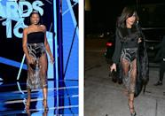 <p>This revealing sheer Steven Khalil couture skirt is clearly hit in celebville. Just six months after Taraji teamed the high-waisted number with a strapless body for the BET Awards, 'Glee' star Naya Rivera stepped out in the exact same skirt. <i>[Photo: Getty]</i></p>