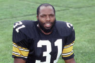 FILE - This is a 1985 file photo showing Pittsburgh Steelers safety Donnie Shell. Pittsburgh Steelers scout Bill Nunn saw enough in the way Shell delivered hits — punishing opponents with little regard for his own well-being — to convince his bosses that Shell deserved an invitation to training camp in the summer of 1974. A chance is all Shell was guaranteed. It was all Shell needed to launch a career that nearly 50 years later landed him in the Hall of Fame. (AP Photo/File)