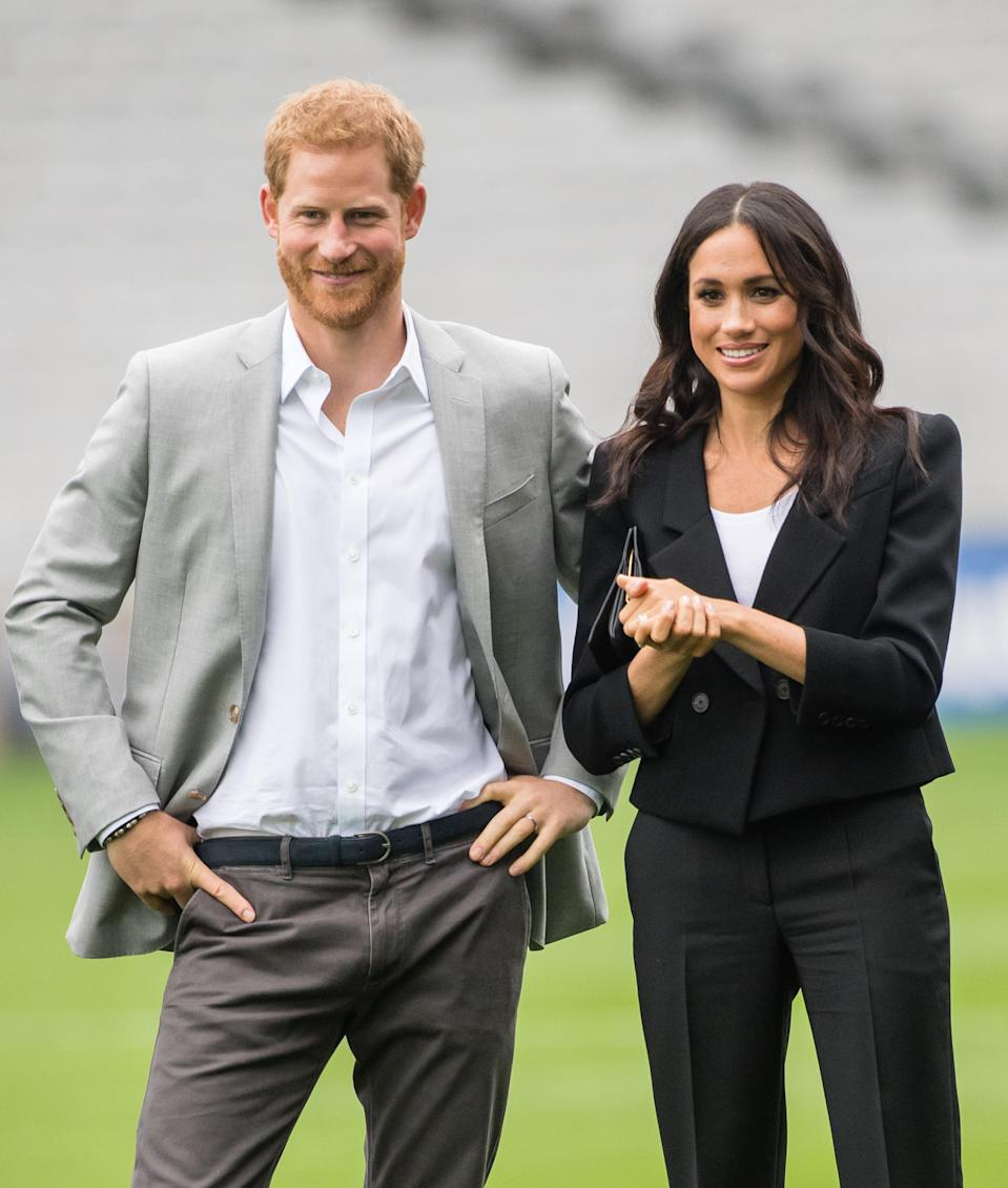 <p>Just like a trade-off for jeans, Meghan's opting for tailored trousers instead of tailored shorts.<br>Source: Getty </p>