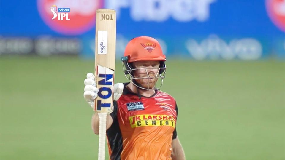 Johnny Bairstow salutes teammates after his half century for Sunrisers Hyderabad.