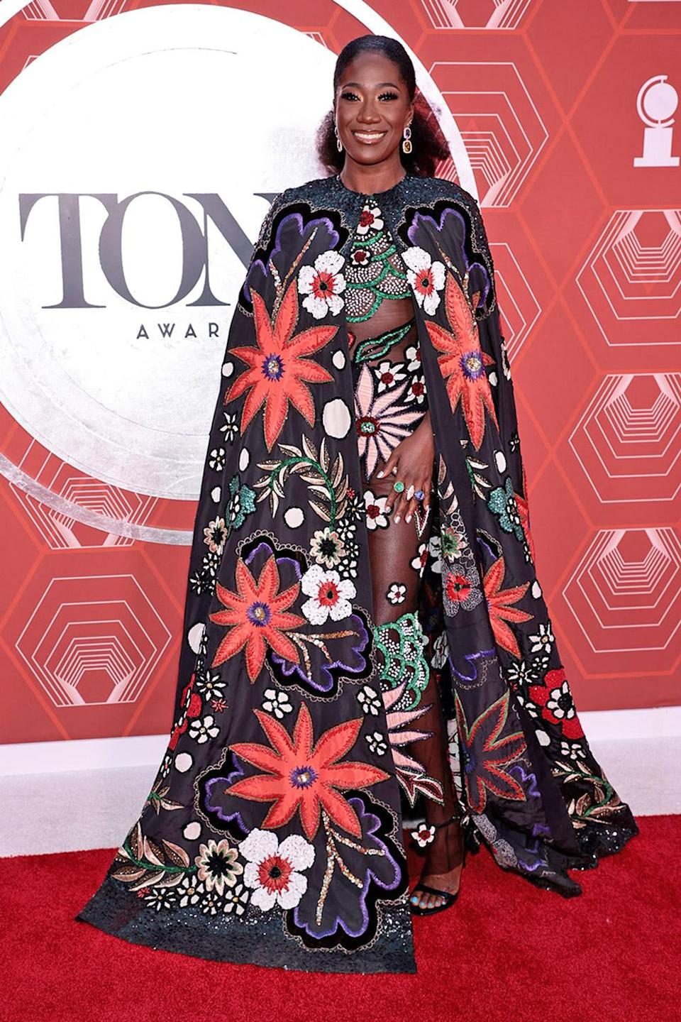 <p>Amber Iman brought some serious flower power to the red carpet. </p>