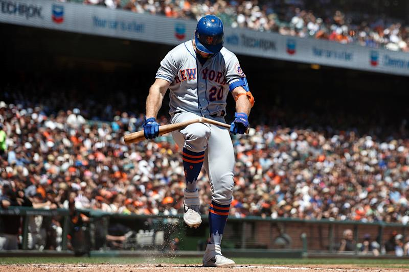 SAN FRANCISCO, CA - JULY 21: Pete Alonso #20 of the New York Mets breaks his bat over his knee after striking out against the San Francisco Giants during the third inning at Oracle Park on July 21, 2019 in San Francisco, California. (Photo by Jason O. Watson/Getty Images)