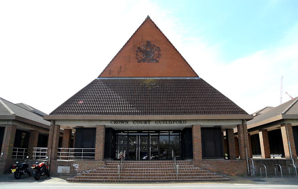 Guildford Crown Court in Surrey as the trial continues into deaths of James Attfield and Nahid Almanea.
