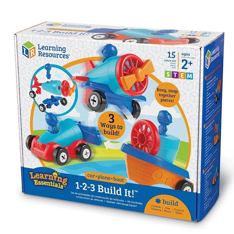 "There are three ways to have fun with this <a href=""https://www.amazon.com/Learning-Resources-1-2-3-Build-Pieces/dp/B01MU51PJ2"" target=""_blank"">problem-solving game</a>."