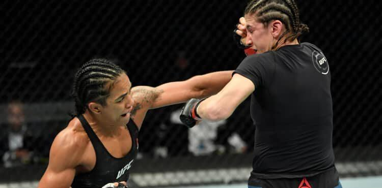 Viviane Araujo rocks Roxanne Modafferi with a punch at UFC Fight Island 8