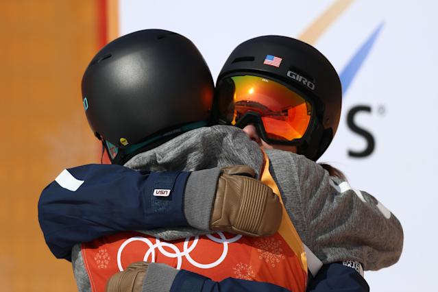 Brita Sigourney of the United States hugs Annalisa Drew of the United States during the Freestyle Skiing Ladies' Ski Halfpipe Final on day eleven of the PyeongChang 2018 Winter Olympic Games. (Getty)