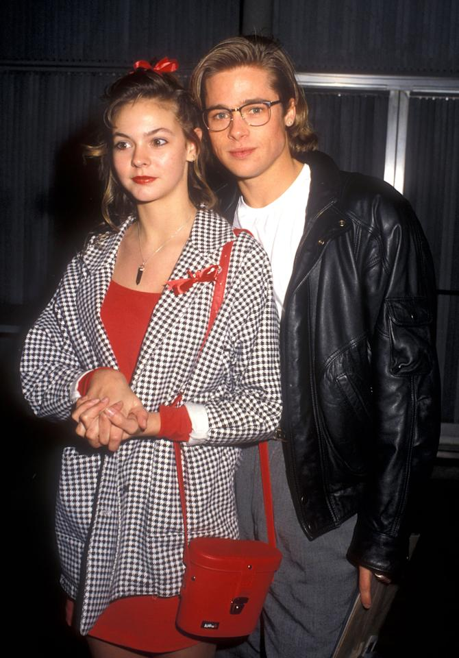 """<p>During Brad's four-episode stint on <strong>Dallas</strong> in 1987, the 24-year-old actor reportedly had an eyebrow-raising relationship with his 15-year-old costar, Shalane McCall. Shalane ended up being <product href=""""http://www.people.com/people/archive/article/0,,20098051,00.html"""" target=""""_blank"""" class=""""ga-track"""" data-ga-category=""""internal click"""" data-ga-label=""""http://www.people.com/people/archive/article/0,,20098051,00.html"""" data-ga-action=""""body text link"""">Brad's first onscreen kiss</product> (which <a href=""""https://www.youtube.com/watch?v=mvNVaaskVic"""" target=""""_blank"""" class=""""ga-track"""" data-ga-category=""""internal click"""" data-ga-label=""""https://www.youtube.com/watch?v=mvNVaaskVic"""" data-ga-action=""""body text link"""">you can check out here</a>, if you're into that sorta thing), but not much ever came from the relationship after he left the show.</p>"""