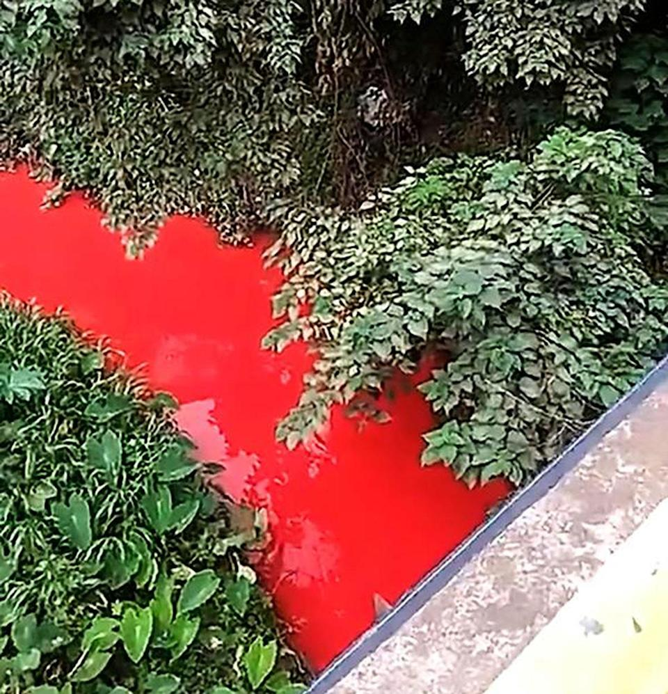 The Xiangbi River in Yibin city in China has been filmed coloured blood-red. Source: australscope