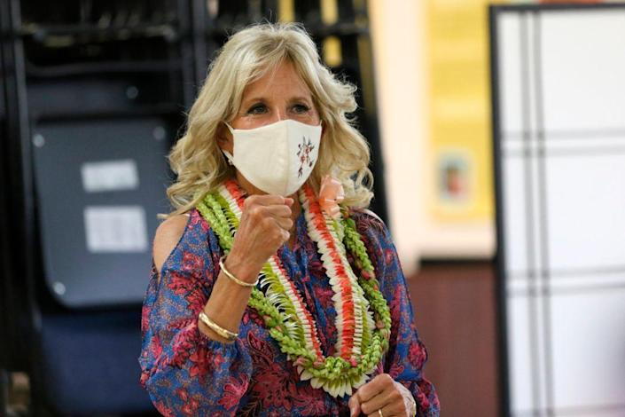 First lady Jill Biden after speaking at a vaccination clinic at a high school in Waipahu, Hawaii, Sunday, July 25, 2021. - Credit: AP