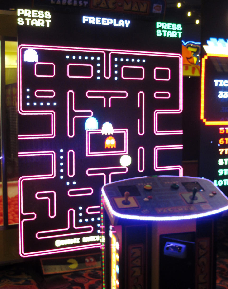 A giant Pac-Man video game sits inside the soon-to-open Lucky Snake arcade, Wednesday, April 21, 2021, at the former Showboat casino in Atlantic City, N.J. Philadelphia developer Bart Blatstein is spending nearly $130 million on attractions at the former Atlantic City casino including an indoor water park; a retractible domed concert hall, a beer garden and a Boardwalk sun deck to increase family entertainment options in Atlantic City. (AP Photo/Wayne Parry)