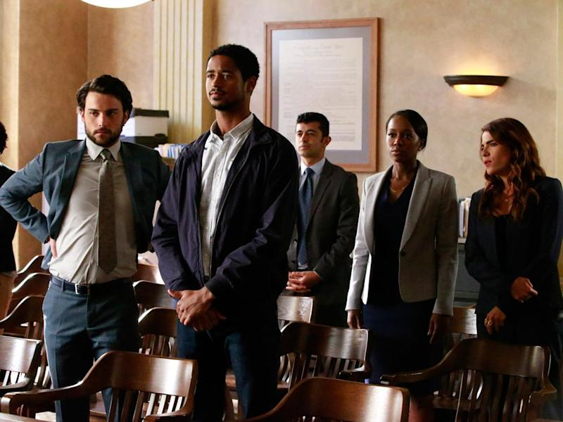 In a season 3 episode of HTGAWM (from left): Connor (Jack Falahee), Wes (Alfred Enoch), Michaela (Aja Naomi King) and Laurel (Karla Souza).   ABC/Mitch Haaseth