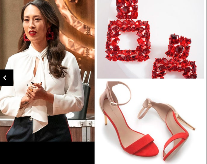 Melissa Leong earrings and shoes