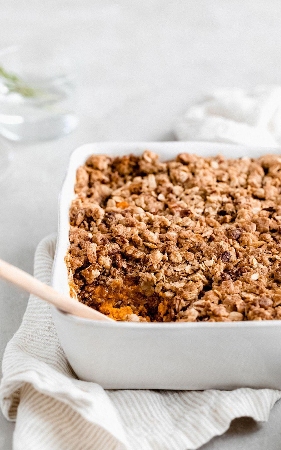 """<p>The textured topping makes this sweet potato casserole a standout. As this blogger writes, """"Who doesn't love a crunchy oat topping?""""</p><p><strong>Get the recipe at <a href=""""https://www.ambitiouskitchen.com/lightened-sweet-potato-casserole-pecan-oat-streusel/"""" rel=""""nofollow noopener"""" target=""""_blank"""" data-ylk=""""slk:Ambitious Kitchen"""" class=""""link rapid-noclick-resp"""">Ambitious Kitchen</a>.</strong> </p>"""