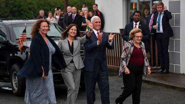 PHOTO: Vice President Mike Pence, his wife Karen Pence, second left, his sister Anne Pence Poynter, left, and his mother Nancy Pence Fritsch, right, arrive in Doonbeg, Ireland, Sept. 3, 2019. (Jacob King/PA via AP)