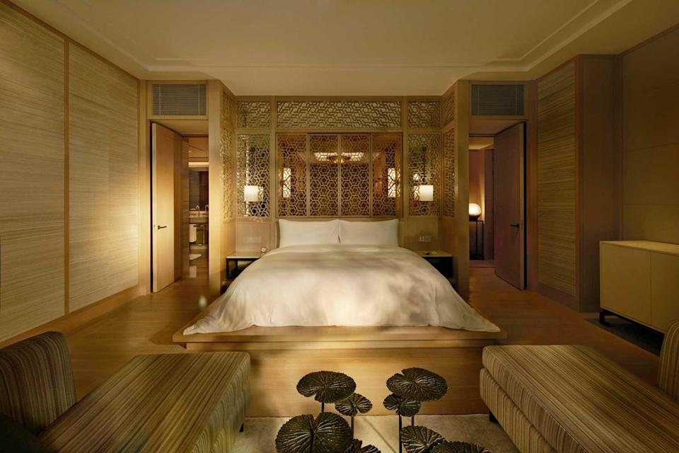Presidential suite bedroom at the Capella Bangkok, voted one of the best hotels in the world
