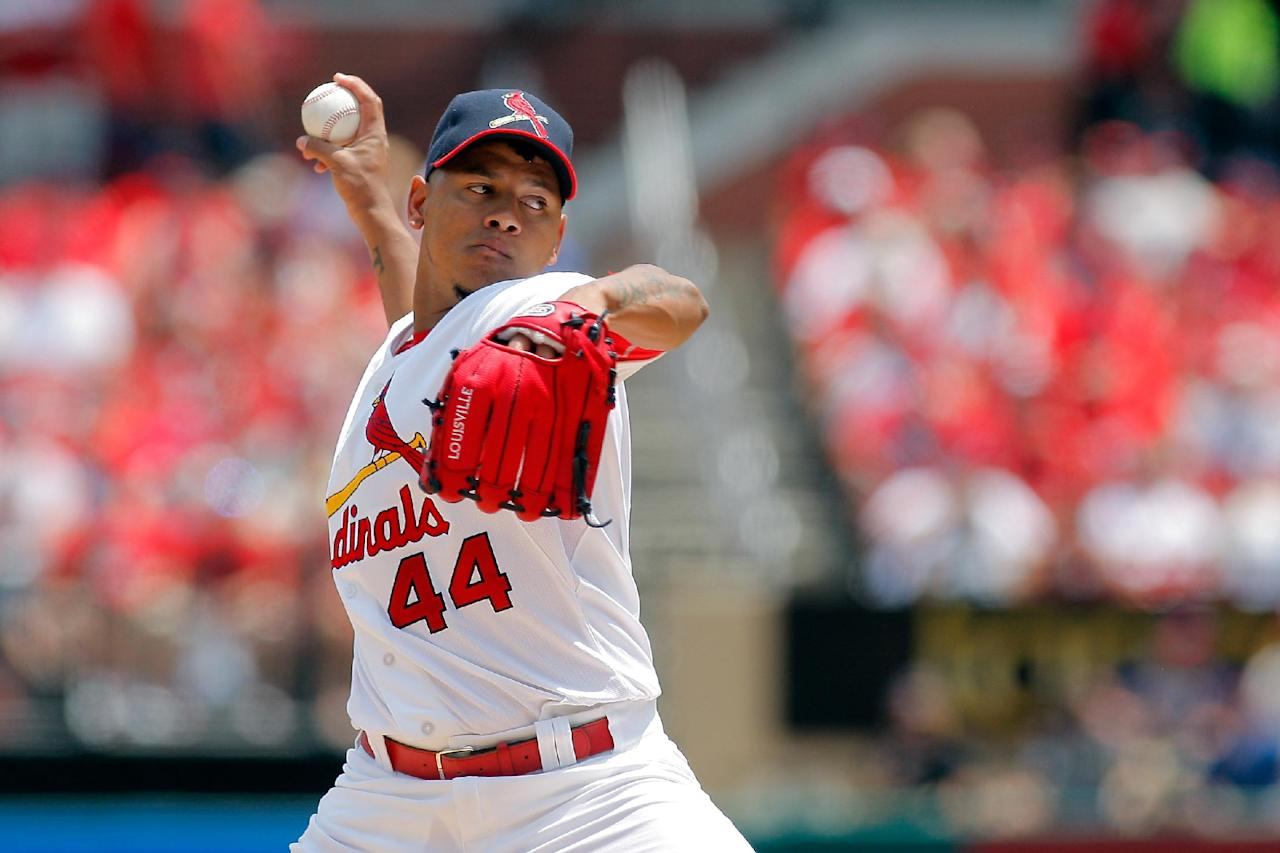 St. Louis Cardinals starting pitcher Carlos Martinez throws during the first inning of a baseball game against the Philadelphia Phillies, Sunday, June 22, 2014, in St. Louis. (AP Photo/Scott Kane)