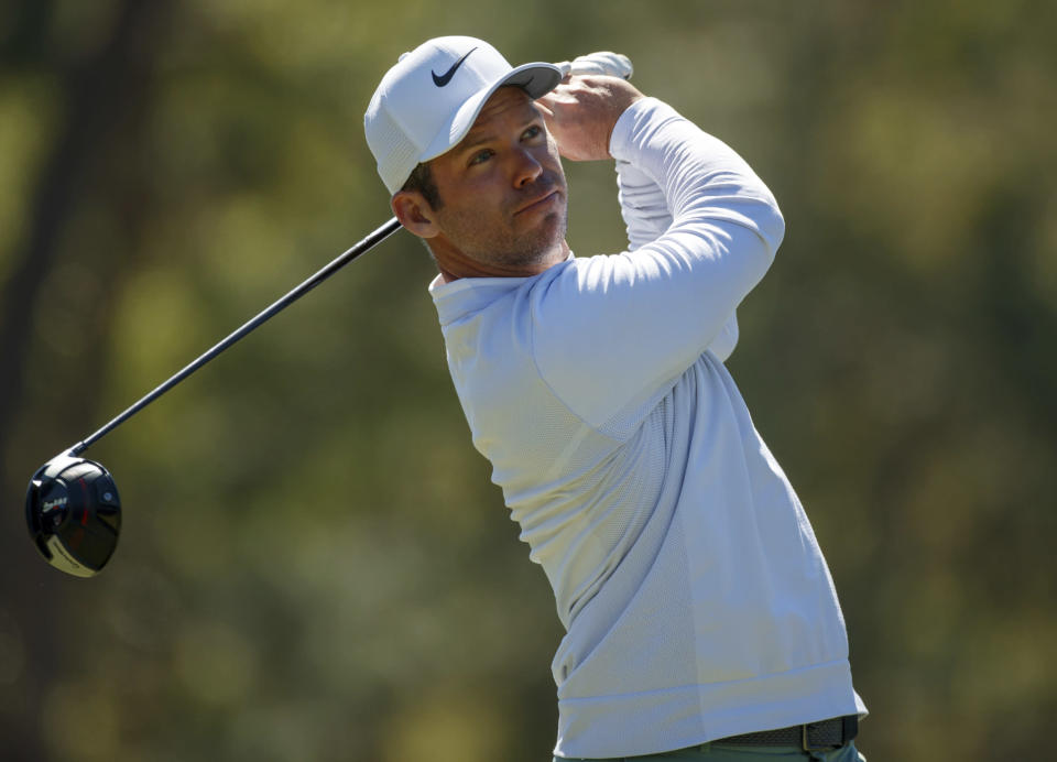 Paul Casey Tess off on the 18th hole during the second round of the Valspar Championship golf tournament Friday, March 9, 2018, in Palm Harbor, Fla. (AP Photo/Mike Carlson)