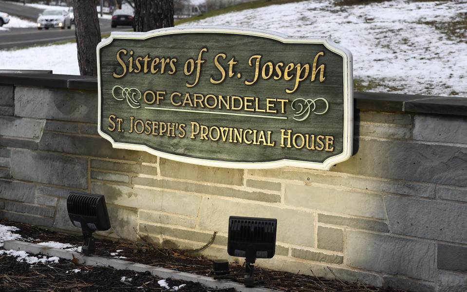 Exterior view of the St. Joseph's Provincial House Tuesday, Jan. 5, 2021, in Latham, N.Y. The home for retired and infirm nuns lost nine residents to COVID-19 during December as the coronavirus pandemic's second wave surged in upstate New York. (AP Photo/Hans Pennink)