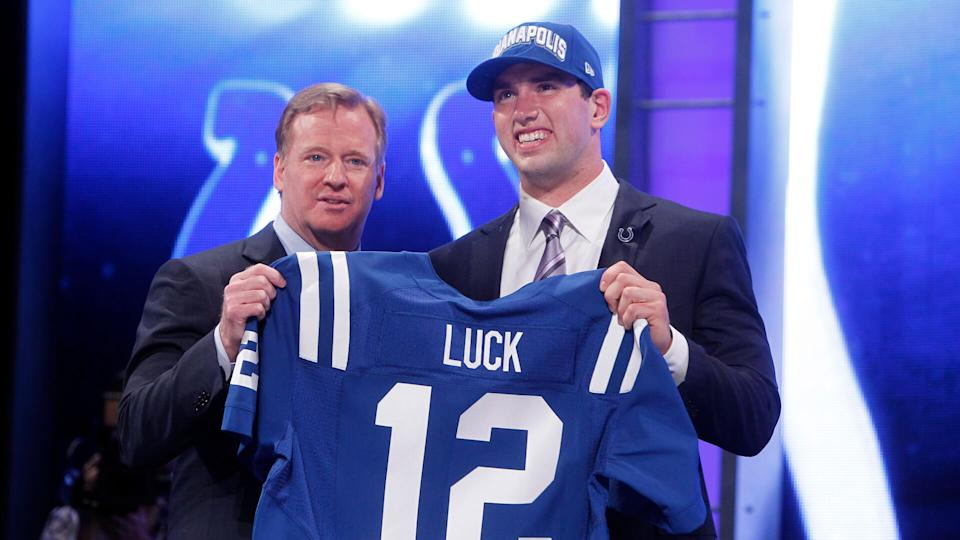 Mandatory Credit: Photo by Jason Decrow/AP/Shutterstock (9279557at)Stanford quarterback Andrew Luck poses for photographs with NFL Commissioner Roger Goodell after he was selected as the first pick overall by the Indianapolis Colts in the first round of the NFL football draft at Radio City Music Hall in New YorkNFL Draft Football, New York, USA - 26 Apr 2012.