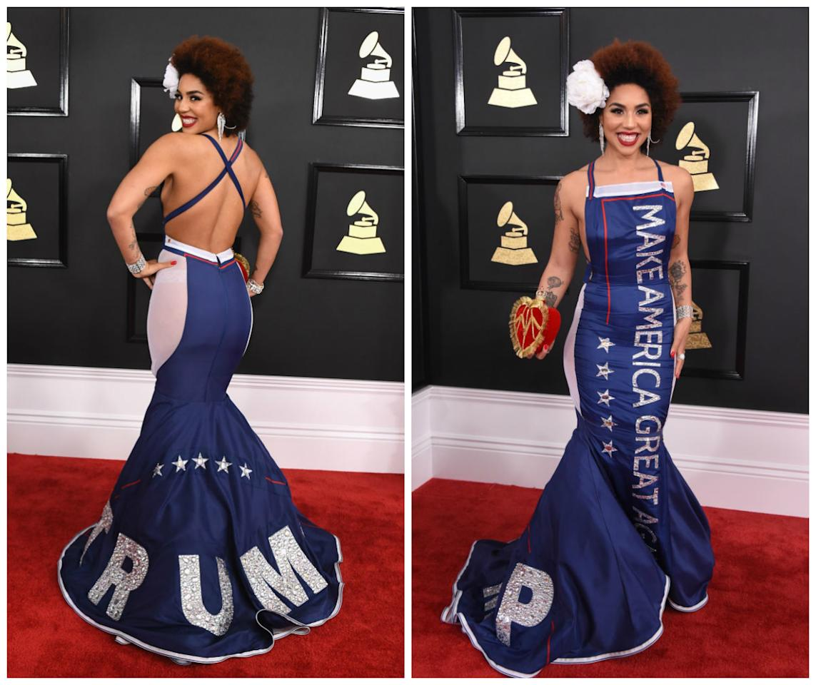 """<p>Villa was widely dubbed """"worst dressed"""" before the ceremony had even begun, she removed her white robe to reveal an embroidery shout to President Trump. <i>(Getty)</i> </p>"""