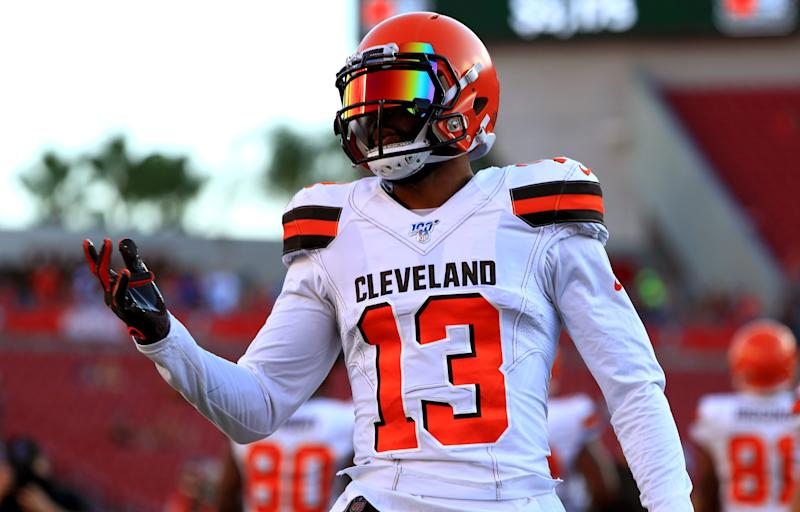 TAMPA, FLORIDA - AUGUST 23: Odell Beckham #13 of the Cleveland Browns warms up during a preseason game against the Tampa Bay Buccaneers at Raymond James Stadium on August 23, 2019 in Tampa, Florida. (Photo by Mike Ehrmann/Getty Images)