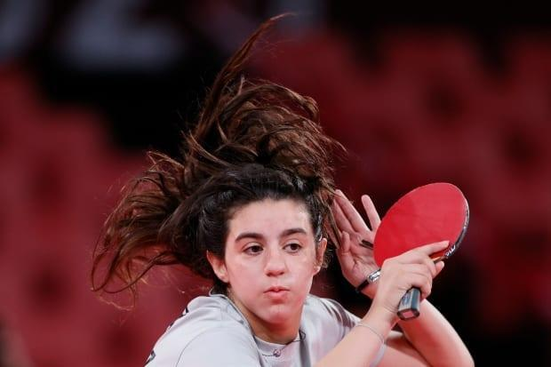 Syria's Hend Zaza, 12, became the youngest table tennis player in Olympic history on Saturday. (Steph Chambers/Getty Images - image credit)