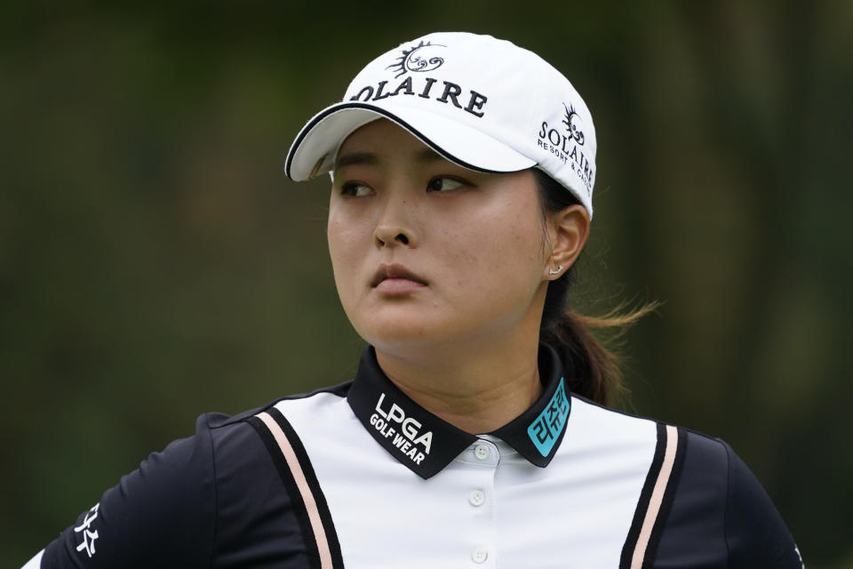 Jin Young Ko, of South Korea, reacts as she walks off the fourth green in the first round of the Cognizant Founders Cup LPGA golf tournament, Thursday, Oct. 7, 2021, in West Caldwell, N.J. (AP Photo/John Minchillo)
