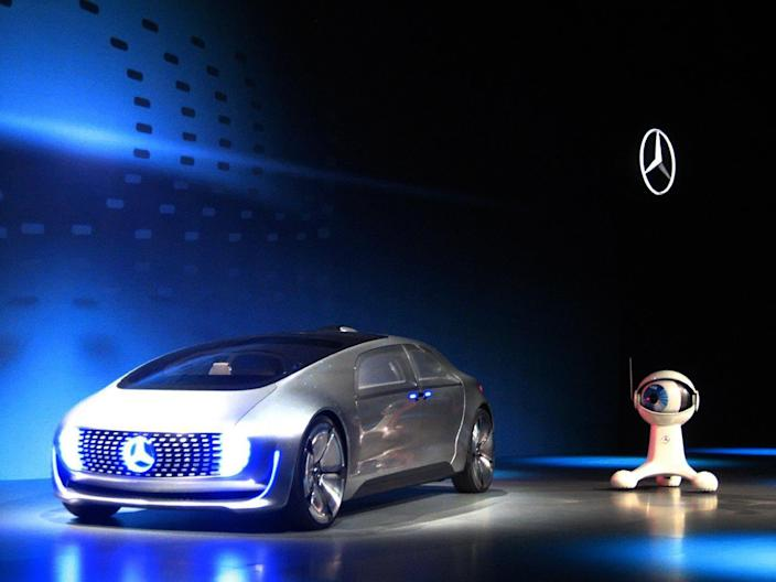 The Mercedes Benz F 015, an electric and autonomous concept car, is introduced at the Consumer Electronics Show in Las Vegas, Nevada on January 5, 2014 (AFP Photo/Sophie Estienne)