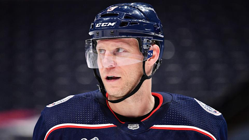 COLUMBUS, OH - FEBRUARY 4:  Mikko Koivu #9 of the Columbus Blue Jackets skates against the Dallas Stars on February 4, 2021 at Nationwide Arena in Columbus, Ohio.  (Photo by Jamie Sabau/NHLI via Getty Images)