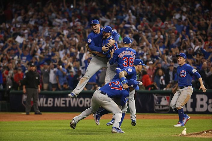 <p>NOV. 3, 2016 — The Chicago Cubs celebrate after defeating the Cleveland Indians in Game 7 to win the World Series at Progressive Field in Cleveland, Ohio. (Brian Cassella/Chicago Tribune/TNS via Getty Images) </p>