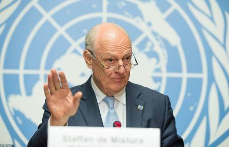 UN Special Envoy of the Secretary-General for Syria Staffan de Mistura speaks at a news conference at Palais des Nations in Geneva