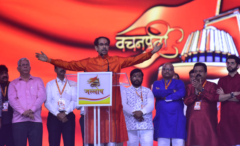 MUMBAI, INDIA - JANUARY 23: Maharashtra CM Uddhav Thackeray addresses Shiv Sena workers during an event at BKC, on January 23, 2020 in Mumbai, India. Senior party leaders felicitated Uddhav for fulfilling his promise to his father late Sena founder Bal Thackeray that he would install a Shiv Sena chief minister in the state. (Photo by Satish Bate/Hindustan Times via Getty Images)
