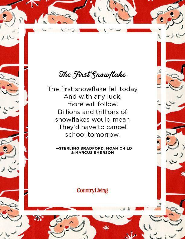 <p>The first snowflake fell today<br>And with any luck, more will follow.<br>Billions and trillions of snowflakes would mean<br>They'd have to cancel school tomorrow.</p><p>-Sterling Bradford, Noah Child & Marcus Emerson<br></p>