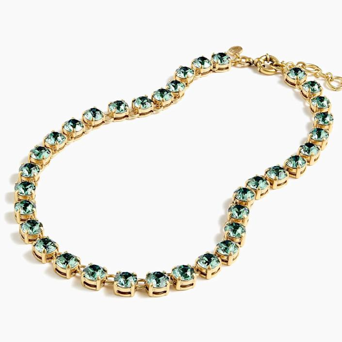 """<strong><a href=""""https://www.jcrew.com/p/womens_category/jewelry/statement/swarovski-crystal-dot-necklace/06515"""" rel=""""nofollow noopener"""" target=""""_blank"""" data-ylk=""""slk:Get the&nbsp;Swarovski Crystal dot necklace for $118"""" class=""""link rapid-noclick-resp"""">Get the&nbsp;Swarovski Crystal dot necklace for $118 </a></strong>"""