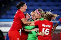 <p>Players of Team Canada's Women's Soccer Team celebrate following their victory in the penalty shoot-out in the Women's Gold Medal Match between Canada and Sweden. </p>