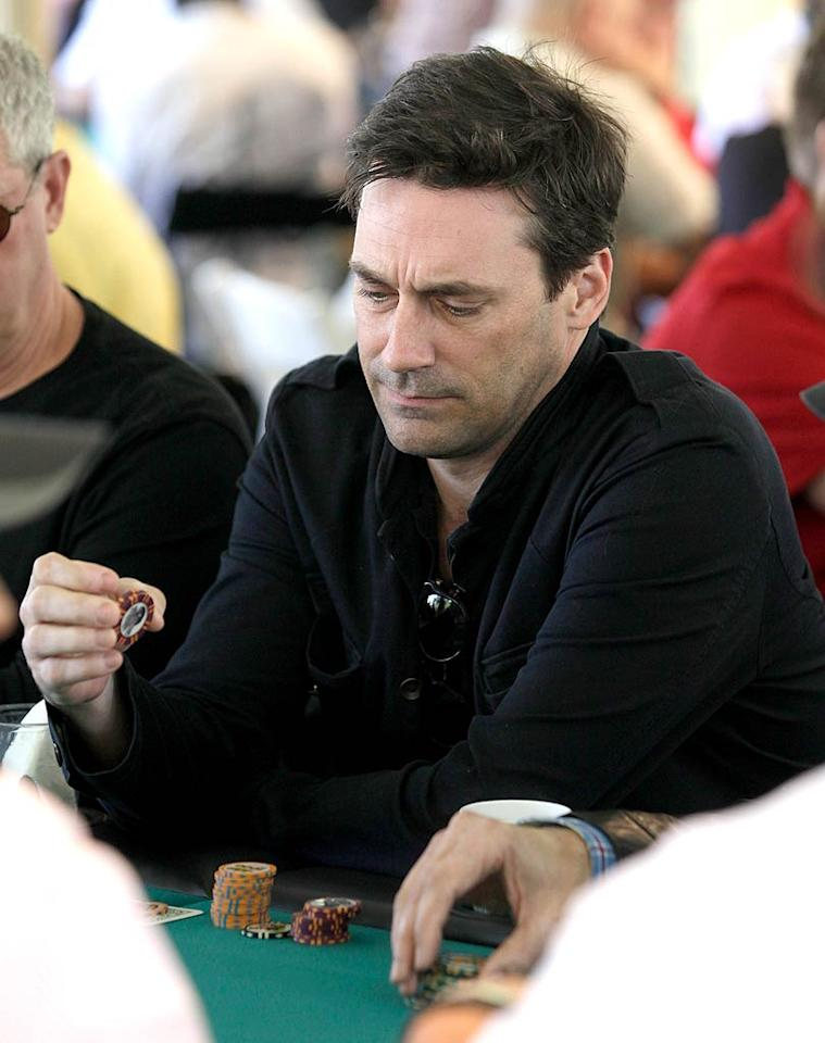 """""""Mad Men's"""" Jon Hamm looked like he was taking the game pretty seriously. We're sure Don Draper is a great poker player, too ... Todd Williamson/<a href=""""http://www.wireimage.com"""" target=""""new"""">WireImage.com</a> - May 21, 2011"""