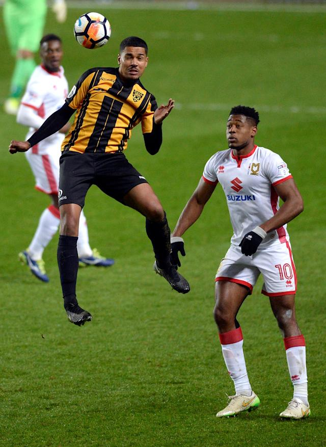 Soccer Football - FA Cup Second Round - Milton Keynes Dons vs Maidstone United - Stadium MK, Milton Keynes, Britain - December 2, 2017 Maidstone United's Alex Wynter in action with MK Dons' Chuks Aneke Action Images/Adam Holt
