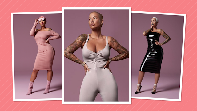 <p>Shop a ribbed dress, jumpsuit, or sexy vinyl dress from Amber Rose's new collection with Simply Be. (Photos: courtesy of Simply Be; art: Quinn Lemmers for Yahoo Lifestyle) </p>
