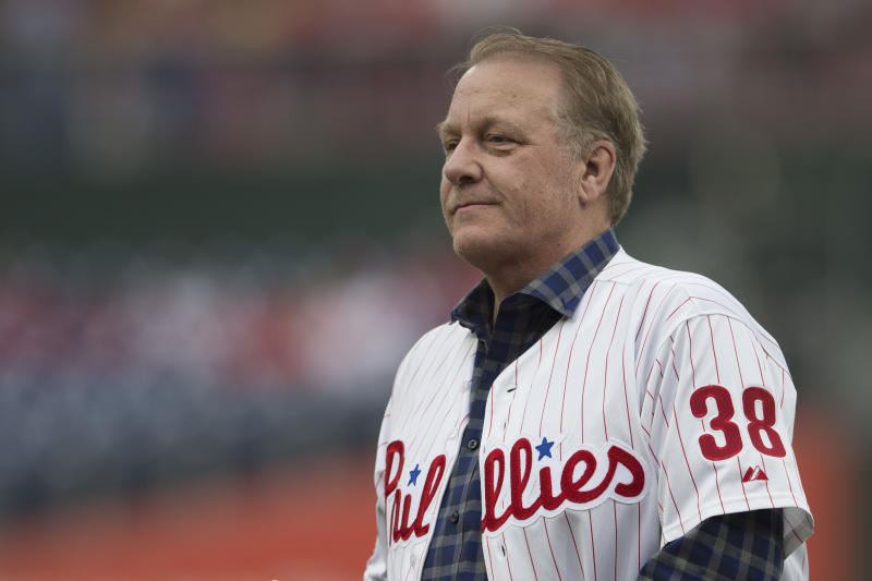 "Curt Schilling congratulated Derek Jeter and Larry Walker while promising to ""talk about the other stuff."" (Photo by Mitchell Leff/Getty Images)"
