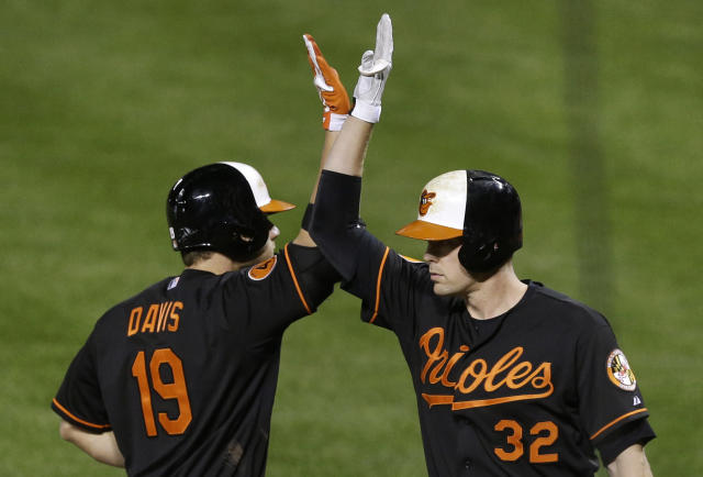 Baltimore Orioles' Chris Davis, left, high-fives teammate Matt Wieters after hitting a solo home run in the sixth inning of a baseball game against the Chicago White Sox, Friday, Sept. 6, 2013, in Baltimore. Wieters hit a solo home run in the following at-bat and White Sox starting pitcher John Danks was pulled from the game. (AP Photo/Patrick Semansky)