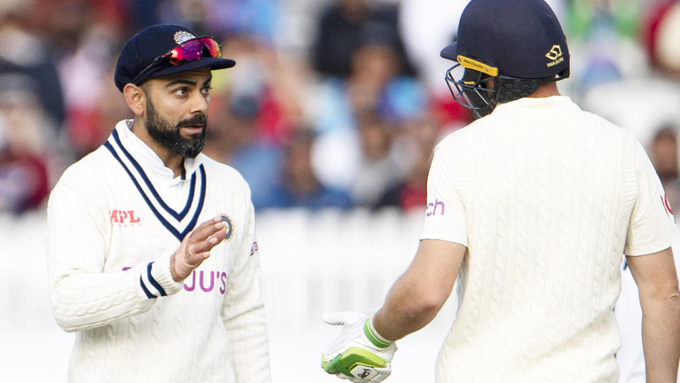 Virat Kholi and Jos Buttler, pictured here exchanging words during the second Test at Lord's.