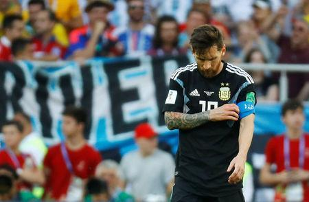 Soccer Football - World Cup - Group D - Argentina vs Iceland - Spartak Stadium, Moscow, Russia - June 16, 2018 Argentina's Lionel Messi reacts after the match REUTERS/Kai Pfaffenbach
