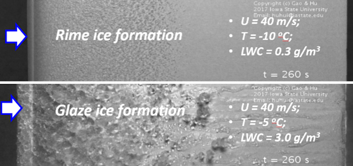 Images of ice forming on wind turbine blades