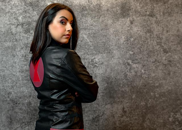 Join the cause with a <em>Black Widow</em> leather jacket from Her Universe. (Photo: Disney Dpecp)