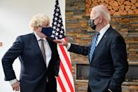 British PM Boris Johnson (L) spoke of the 'indestructible relationship' between the UK and US as he hosted President Joe Biden (R)